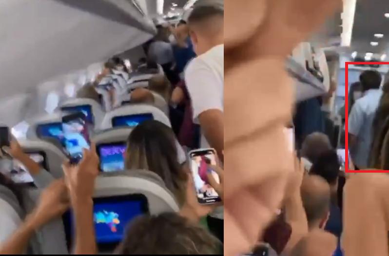 Em vídeo, passageiros de voo gritam 'fora, Bolsonaro' e 'genocida' a presidente - Reprodução/Twitter