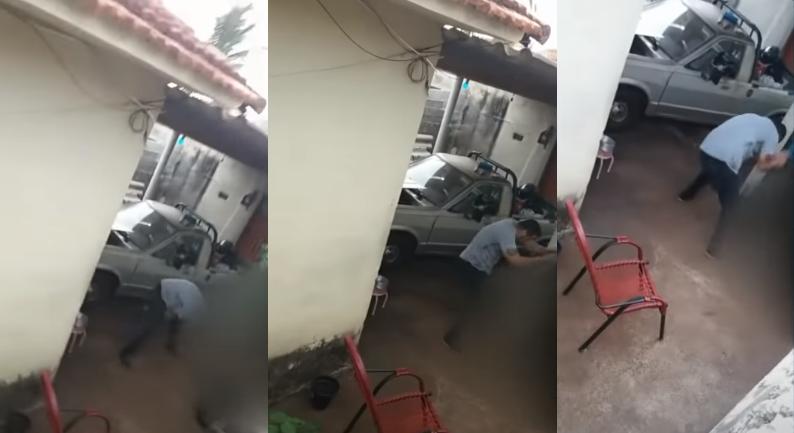 Pastor é flagrado espancando cachorro com mangueira - Divulgação/SBT