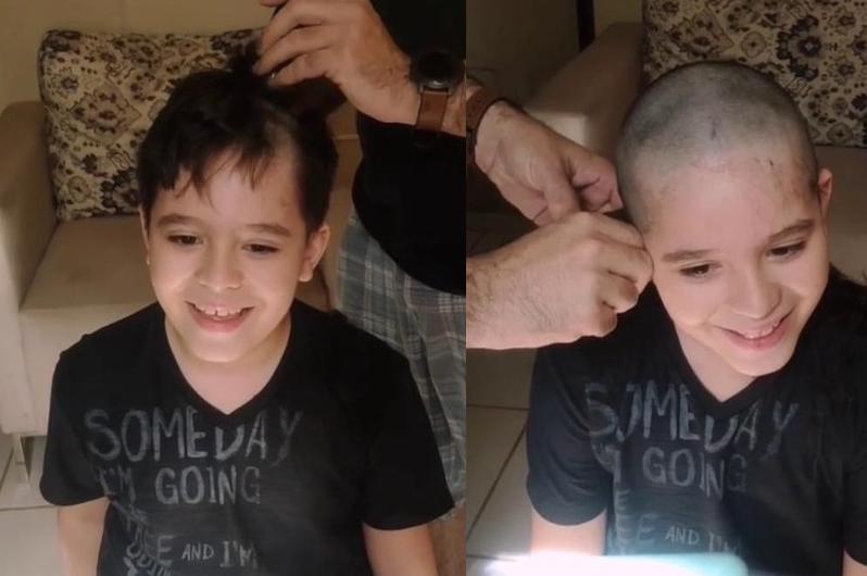 Menino de 9 anos raspa o cabelo em apoio ao amigo internado com câncer - Reprodução/Instagram